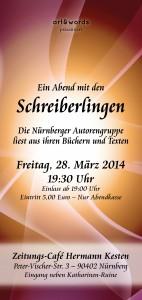 """Flyer zur Lesung """"Ein Abend mit den Schreiberlingen"""" (Quelle: art & words-Verlag)."""