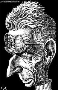 Samuel Beckett - von der Absurdität getrieben. Karikatur von Javad Alizadeh (Quelle: Wikimedia Commons/ Javad Alizadeh)