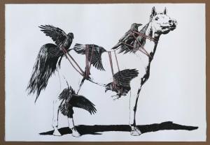 """Eckart Hahn """"Bondage"""", 2012; indian ink on laid paper, 81 x 117cm // Städtische Sammlung Erlangen // Courtesy Galerie Wagner + Partner, Berlin."""