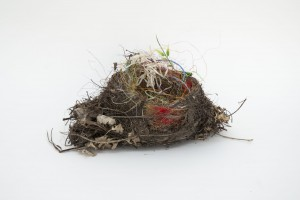 "Björn Braun ""Untitled"" (zebra finch nest), 2013; black bird's nest, natural fibres, feathers, plastic branch, wooden stick ,13 x 23 x 18 cm // Courtesy Galerie Meyer Riegger"